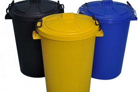 سطل زباله پلاستیکی درب دار رنگی